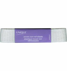 UNIQUE Woven Non-Roll Elastic 25mm x 0.9m - White