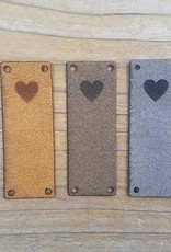 Katrinkles Katrinkles Faux Suede Solid Heart Foldover Tags Neutrals