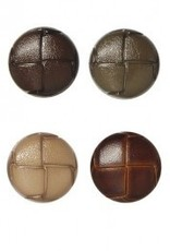 Bergere de France Set of 6 mock leather buttons, brown, 22 mm