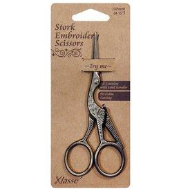 """KLASSÉ Klasse Stork Scissors - Vintage Gold - 4-1/2"""" (11.4cm)"""