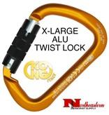 KONG Carabiner, X-LARGE Aluminium Twist Lock Orange/Black