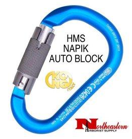KONG Carabiner, H.M.S. NAPIK, Auto Block - Body Cyan, Gate Polished