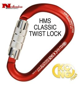 KONG Carabiner, H.M.S. CLASSIC Twist Lock - Body Red, Gate Polished