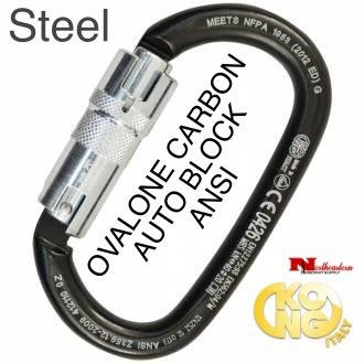 KONG Carabiner, OVALONE Carbon Steel, 3 Way Auto Lock 40 kN ANSI/NFPA