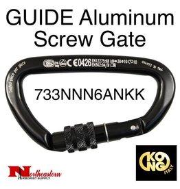 KONG Carabiner, GUIDE Aluminum Screw Gate, Black