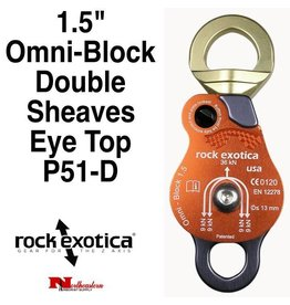 "Rock Exotica Block, Omni 1.5"" Double Sheave & Eye Swivel Top"