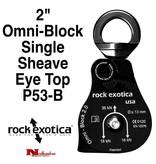 "Rock Exotica Block, Omni 2"" Single Sheave & Eye Swivel Top, Black"
