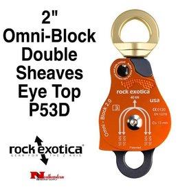 "Rock Exotica Block, Omni 2"" Double Sheave & Eye Swivel Top"