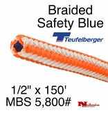 "Teufelberger Braided Safety Blue HI-Vee 1/2"" x 150' - MBS 5,800# (New)"