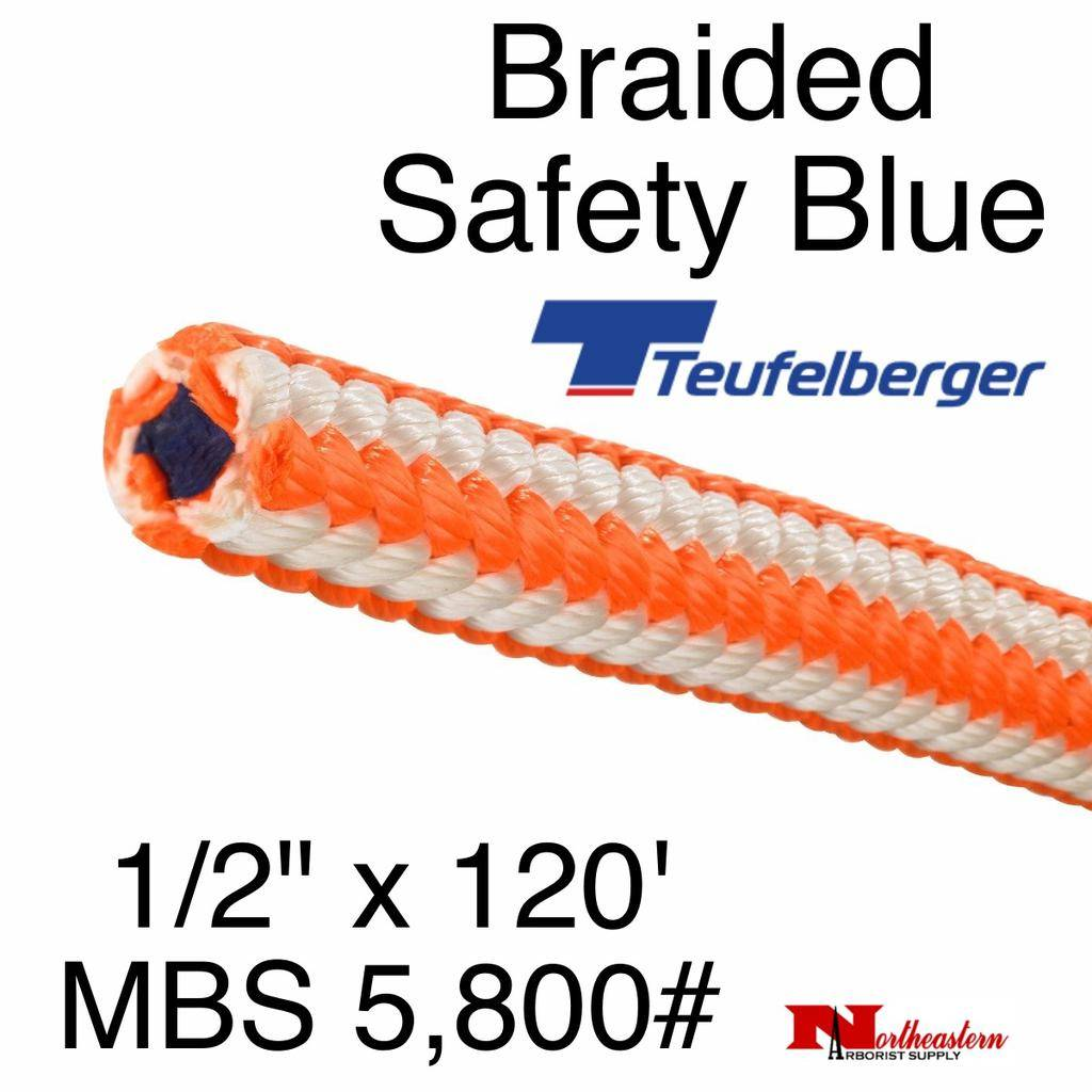 """Teufelberger Braided Safety Blue HI-Vee 1/2"""" x 120' - MBS 5,800# (New)"""