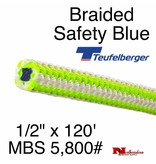 """Teufelberger Braided Ultra Vee Safety Blue, 1/2"""" x  120', 5,800# MBS"""