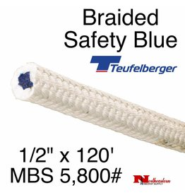 "Teufelberger Braided White Safety Blue, 1/2"" x  120', 5,800# MBS"