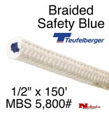 """Teufelberger Braided White Safety Blue, 1/2"""" x  150', 5,800# MBS"""