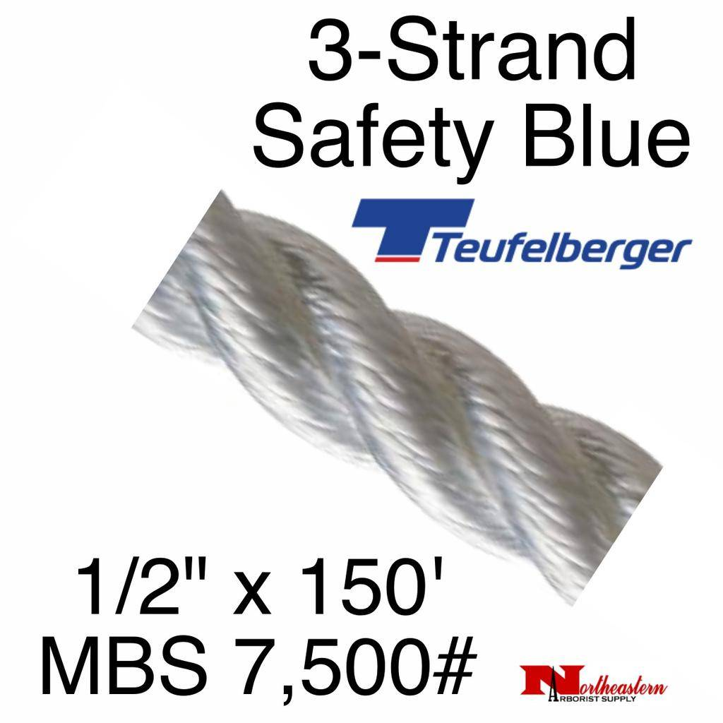 """Teufelberger 3-Strand Safety Blue 1/2"""" x 150' by New England"""