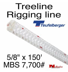 "Teufelberger Treeline Rigging Line 5/8"" x 150', Braided 12-Strand Bull Rope"