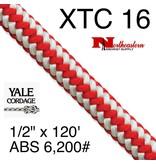 """Yale Cordage XTC 16-Strand Plus, Red Stripe 1/2"""" x 120' 6,200# ABS"""