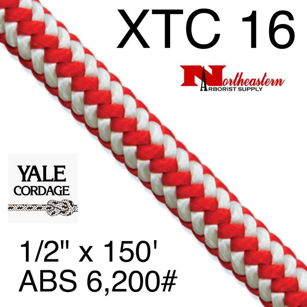 """Yale Cordage XTC 16-Strand Plus, Red Stripe 1/2"""" x 150' 6,200# ABS"""
