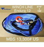 "Teufelberger Blue Winch Rope - 5/16"" X 150' with Hook & Sleeve 13,300# US MBS"