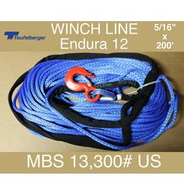 "Teufelberger Blue Winch Rope - 5/16"" x 200' with Hook & Sleeve 13,300# US MBS"