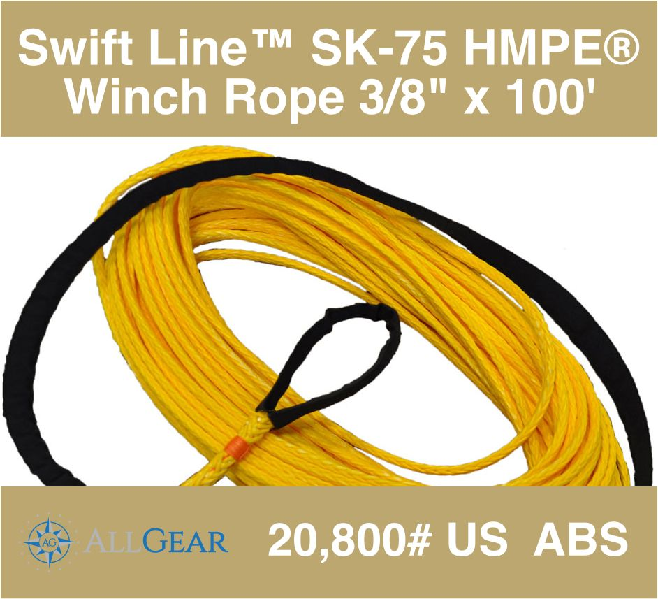 """All Gear Inc. Swift Line™ Winch Rope 3/8"""" x 100' with 1 Eye, Coated 20,800# ABS"""