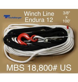 "Teufelberger White Winch Rope - 3/8"" x 100' with Hook & Sleeve - 18,800 MBS"
