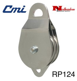 "CMI Pulley 5/8"" Two 4"" Aluminum Sheaves, Bushing, and Stainless Steel Axle. 25,000lbs MBS"