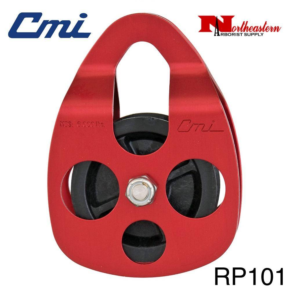 "CMI Pulley 5/8'' Red anodized aluminum side plates, 2 3/8"" glass-filled celcon sheave, and stainless steel axle. 6,000MBS"
