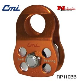 "CMI Pulley 1/2'' Orange Anodized Aluminum Sideplates, 1+1/4"" Aluminum Sheave, Ball Bearing,and Aluminum Axle 7000lbs MBS"