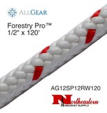 """All Gear Inc. Forestry Pro 1/2"""" x 120' 12-Strand Polyester White with Red Tracer"""