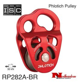 "ISC Pulley Phlotich Red with Bearings 30kN 1/2"" Rope Max."