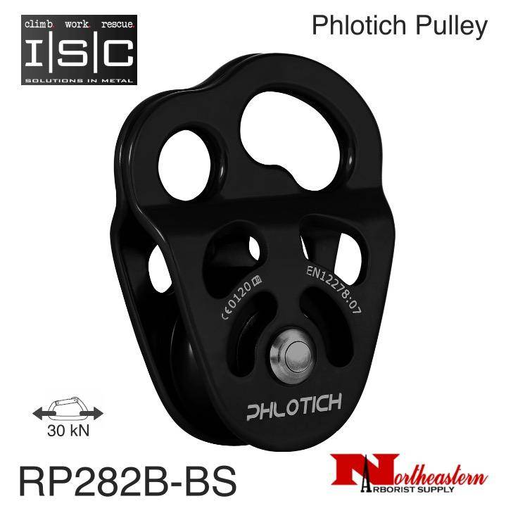 "ISC Pulley Phlotich Black with Bushings 30kN 1/2"" Rope Max."