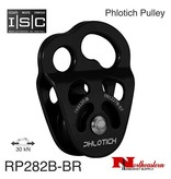 """ISC Pulley Phlotich Black with Bearings 30kN 1/2"""" Rope Max."""