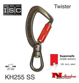 ISC Carabiner, Aluminum with Swivel Eye, Supersafe, 27 kN