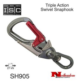 ISC Snaphook, Triple Action with Swivel Aluminium, 27 kN