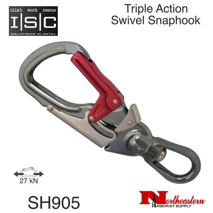 ISC Snaphook, Triple Action with Swivel Aluminium, 27 kN