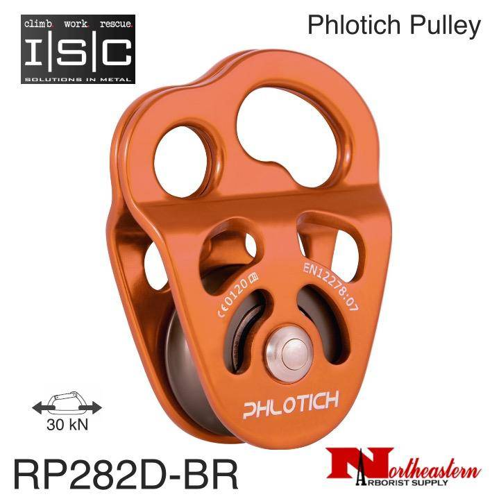 "ISC Pulley Phlotich Orange with Bearings 30kN 1/2"" Rope Max."
