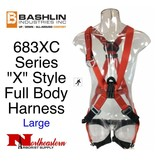 "Bashlin FULL BODY HARNESS ""X"" style full body harness with 24"" nylon back attachment and D-ring (""C"" attachment)."