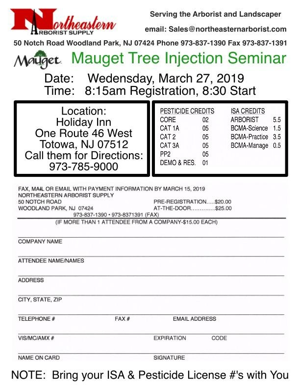 Mauget Mauget Tree Injection Seminar Pre-Registration, Each Person