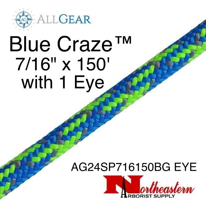 "All Gear Inc. Blue Craze™ 7/16"" x 150' with One Eye, 24-Strand Braided Polyester"