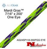 "All Gear Inc. Mardi Gras™ 7/16"" 200' & 1 Eye, Purple Neon Green and Gray Tracer"