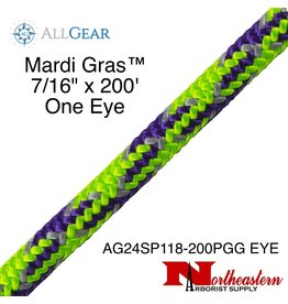"All Gear Inc. Mardi Gras™ 7/16"" 200' with One Eye, Purple Neon Green and Gray Tracer"