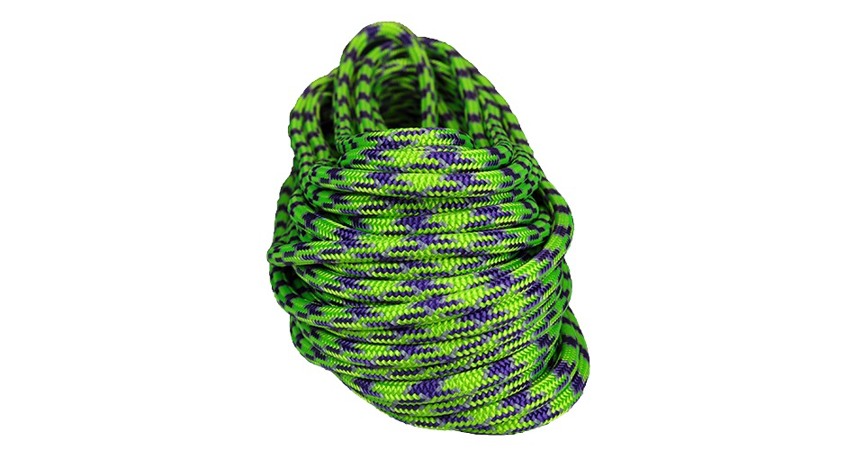 "All Gear Inc. Mardi Gras™ 7/16"" 150' & 1 Eye, Purple Neon Green and Gray Tracer"
