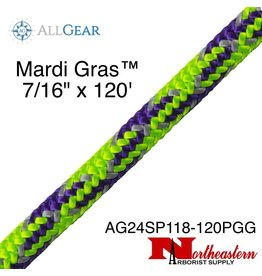 "All Gear Inc. Mardi Gras™ 7/16"" x 120' Purple Neon Green and Gray Tracer"