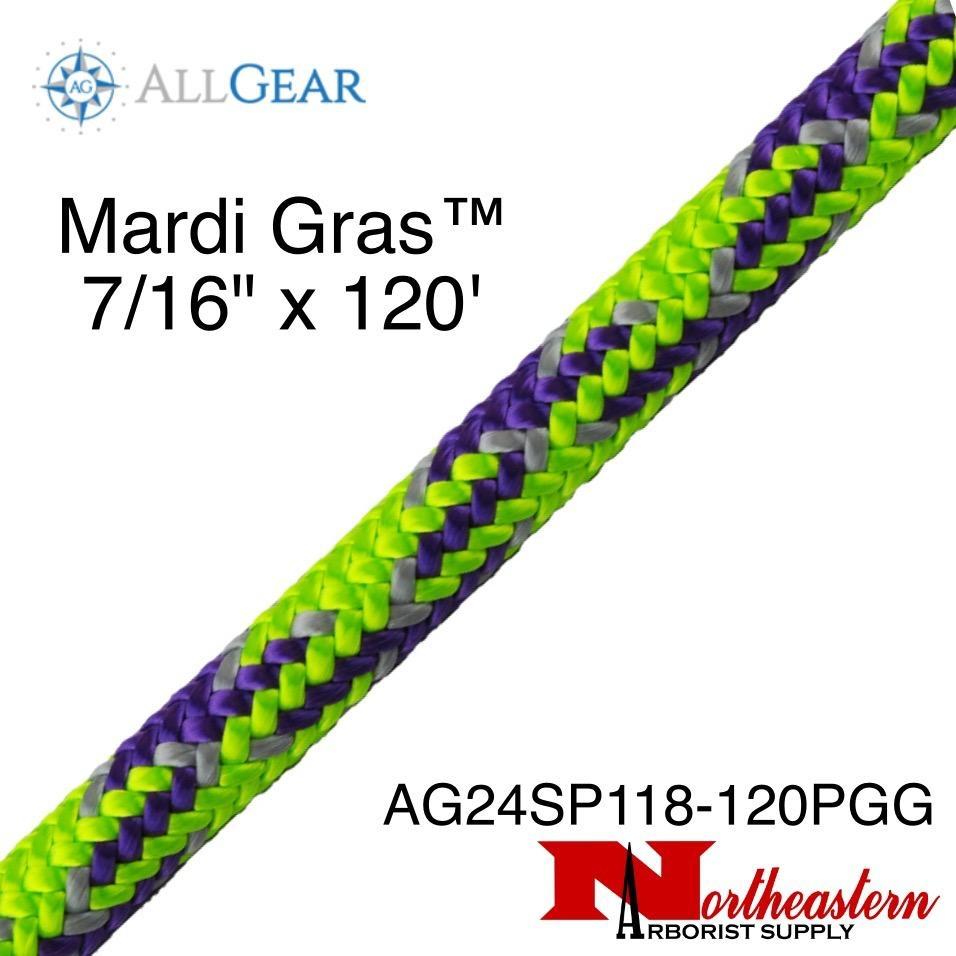 "All Gear Inc. Mardi Gras™ 7/16"" x 120' Purple Neon Green and Gray Tracer"