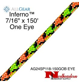 "All Gear Inc. Inferno™ 7/16"" x 150' & 1 Eye, Neon Orange Neon Green and Navy Blue"