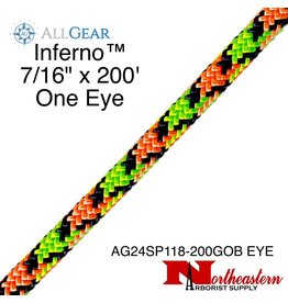 "All Gear Inc. Inferno™ 7/16"" x 200' & 1 Eye, Neon Orange Neon Green and Navy Blue"
