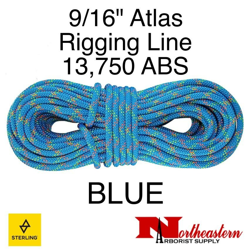 "Sterling 9/16"" Atlas Rigging Line Blue 13,750lbs ABS"