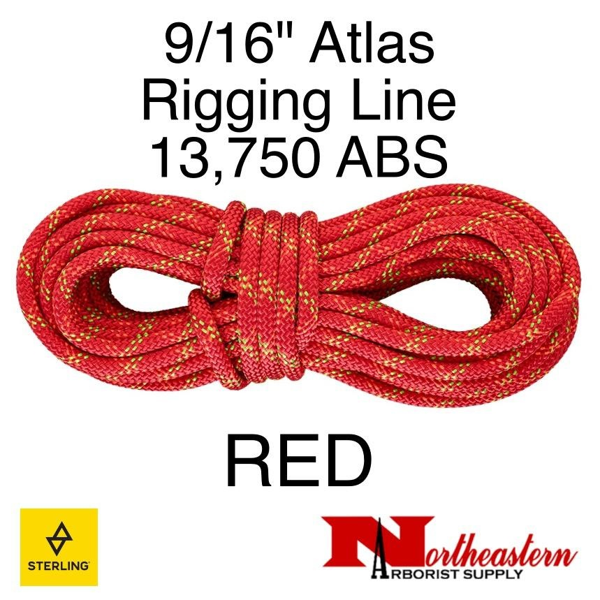 "Sterling 9/16"" Atlas Rigging Line Red 13,750lbs ABS"
