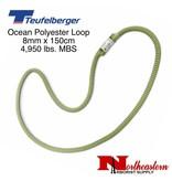 Teufelberger Ocean Polyester Loop, Green/Yellow 8 mm x 150cm 4,950lbs. MBS