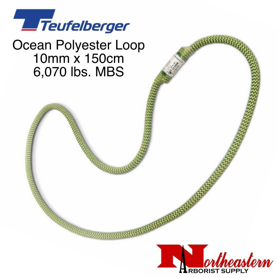 Teufelberger Ocean Polyester Loop, Green/Yellow 10 mm x 150cm 6,070lbs. MBS